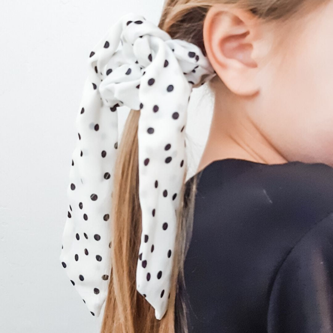 White Polka Dot Ponytail Scarf