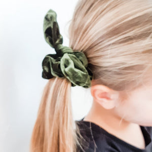 Olive Green Bow Scrunchie