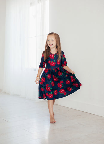 Navy and Rose Twirl Dress