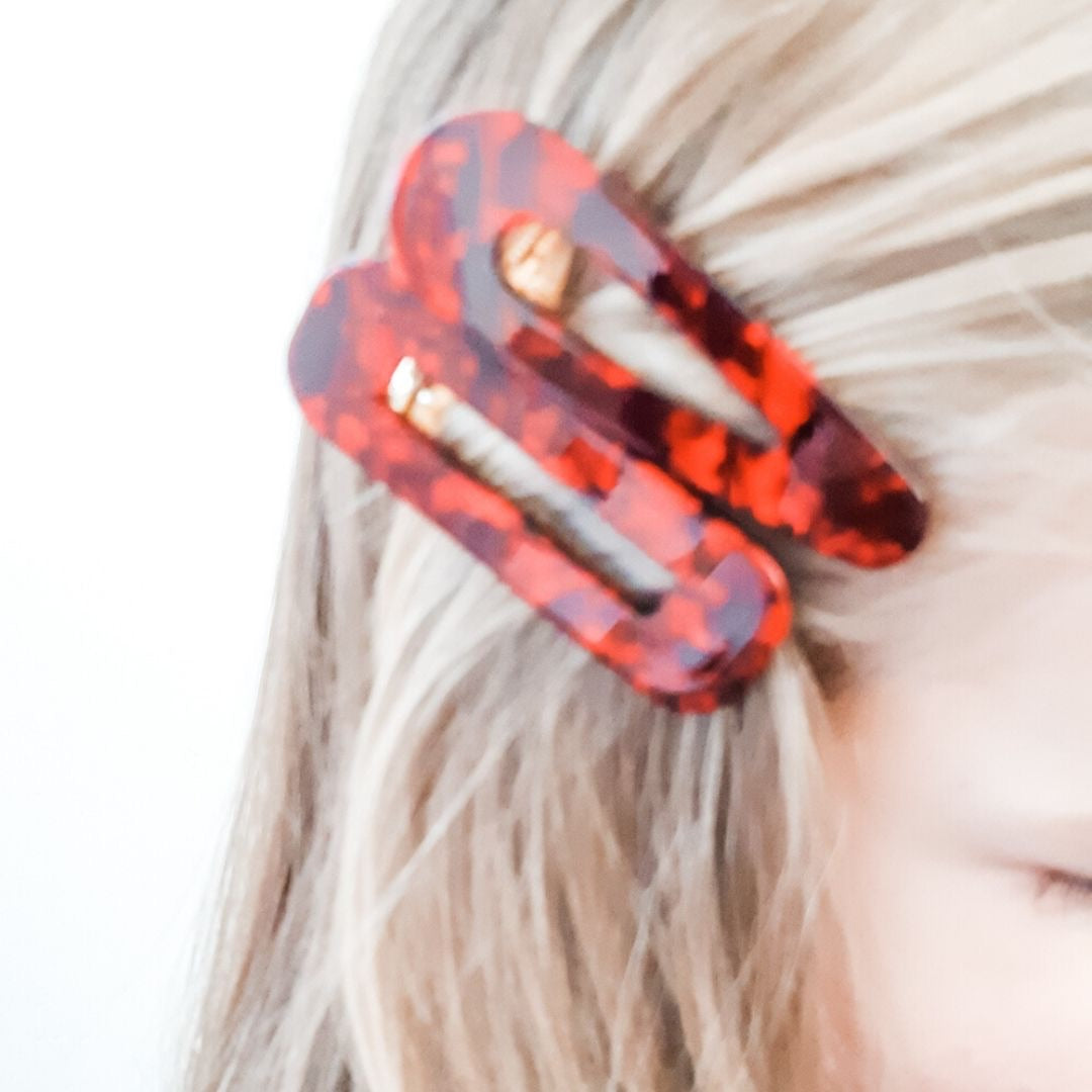 Red Marble Clip Set