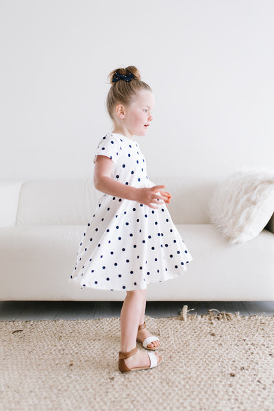 White and Navy Dot Twirl Dress