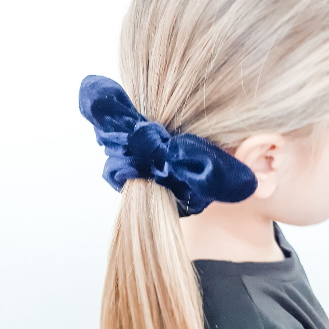 Navy Bow Scrunchie