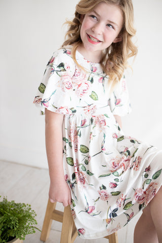 Pink Rose Flutter Dress