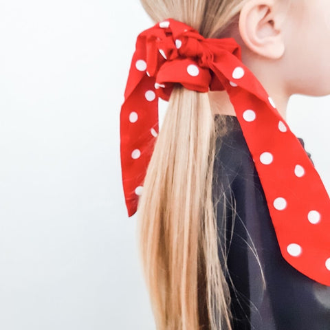 Red Polka Dot Ponytail Scarf