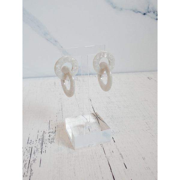 White Tortoise Shell Earrings