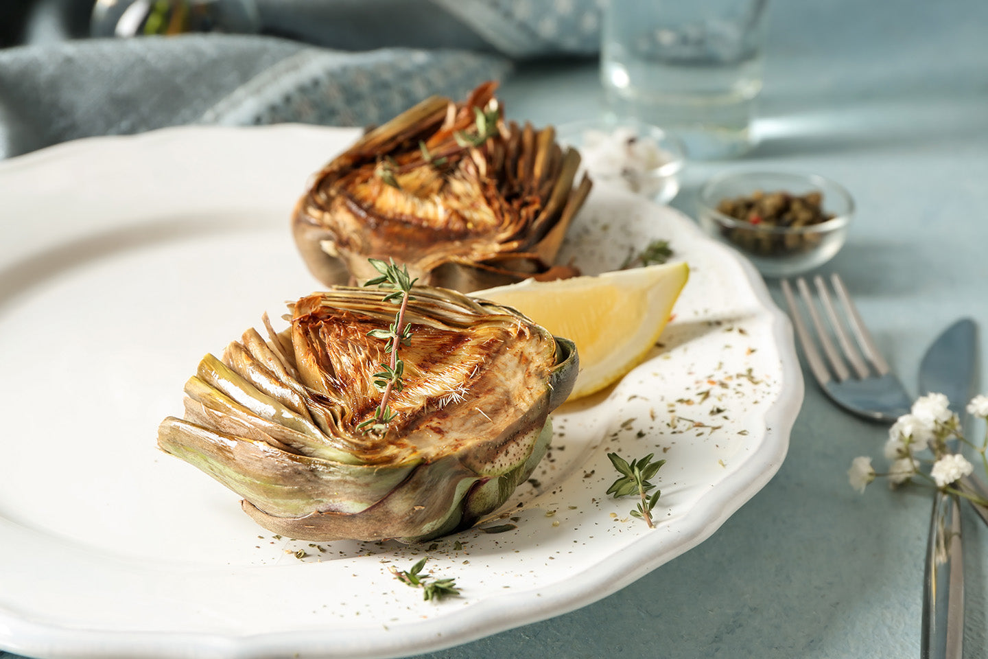 NOLA Blends Grilled Artichoke with Balsamic Mustard Sauce