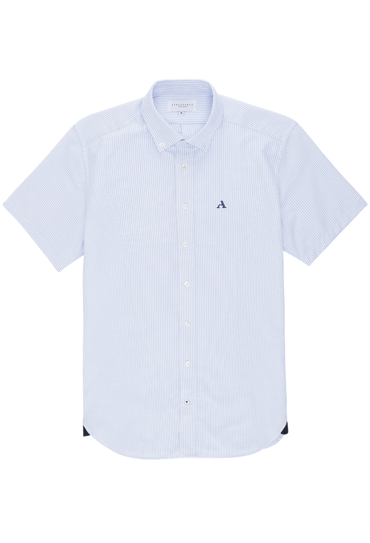 Primary Oxford Short Sleeved Shirt, Blue Striped