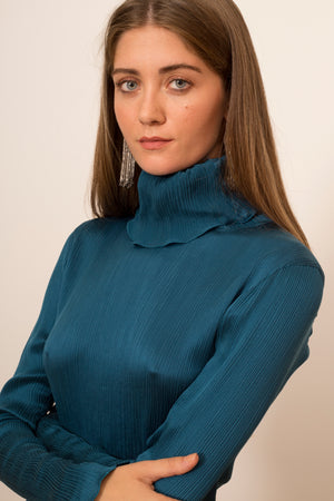 Crinkle Silk Turtleneck