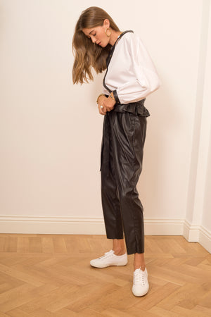 Vegan Leather Pants with Ruffled Belt
