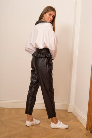 Vegan Leather Pants with Ruffled Belt (2507060871226)