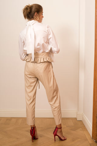 Vegan Leather Pants with Ruffled Belt (2508448923706)