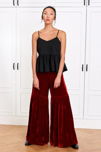 Wide Silk Velvet Pants