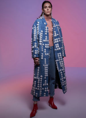 Blue Wool Coat with Pom Poms (4953124339814)