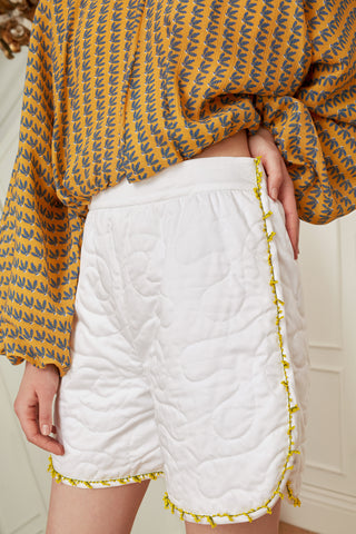 Quilted Shorts with Mimosa Beads