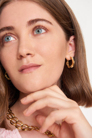 Seasons & Stories Bamboo Hoop Earrings