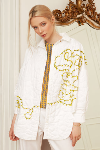 Quilted Overshirt with Mimosa Beads