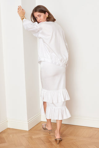 White Ruffled Midi Skirt (4887139450982)