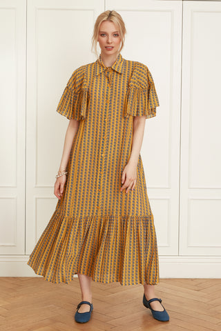 Tencel Ruffle Sleeved Shirtdress