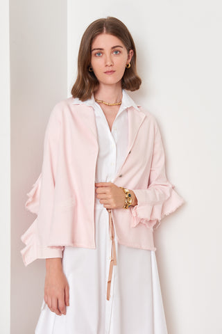Ruffle Sleeved Pink Jacket (4887944429670)