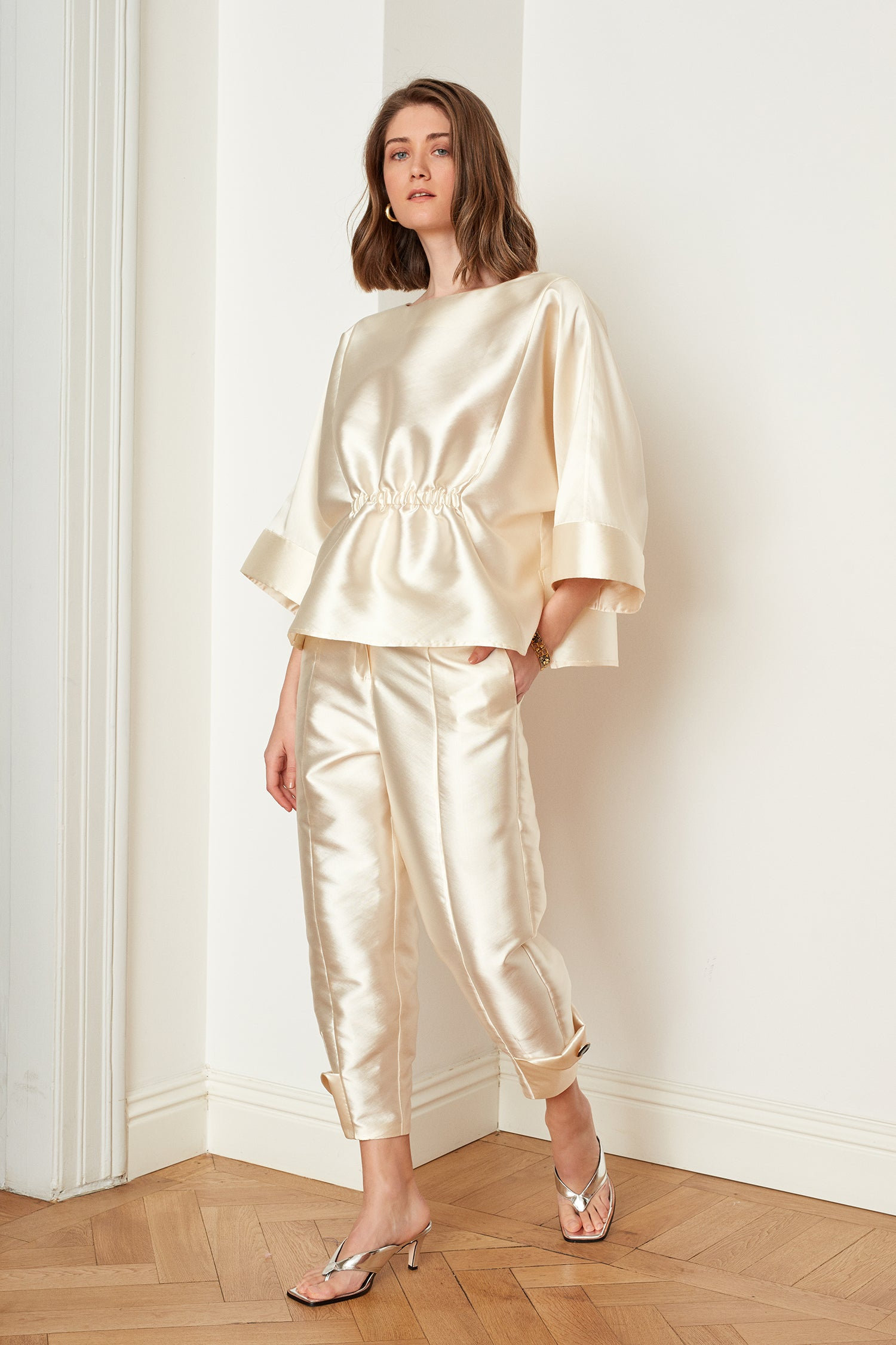 Satin Folded Hem Pants