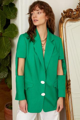 Classic Jacket with Cut Outs at Sleeves