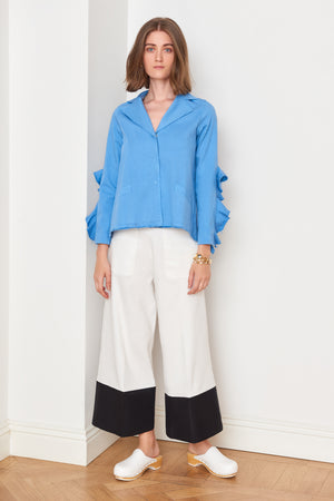 Ruffle Sleeved Blue Jacket (4886463086694)