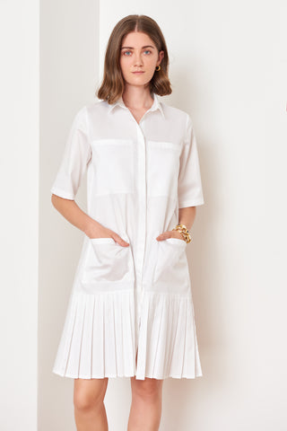 Pleated Mini Shirtdress (4886454927462)