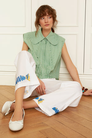 Classic Cotton Pants with Embroidery