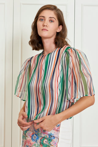 Striped Organza Blouse (4917684469862)
