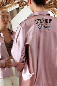Metallic Gozde Overshirt with Embroidery