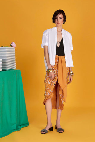 Embroidered Pareo Skirt