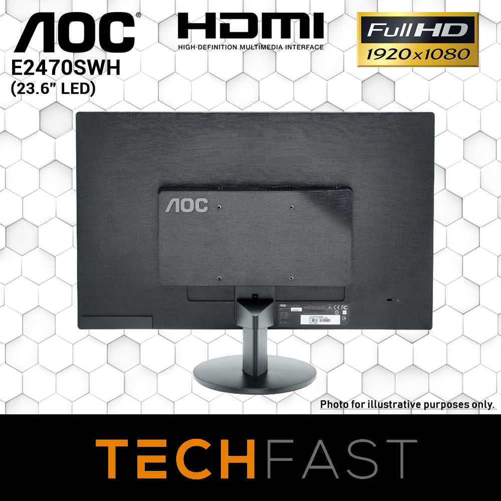 "AOC 23.6"" E2470SWH Monitor & Wired Keyboard/Mouse [PC Bundle Special]"