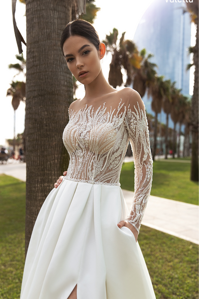 Longsleeve Duchess Satin Wedding Gown
