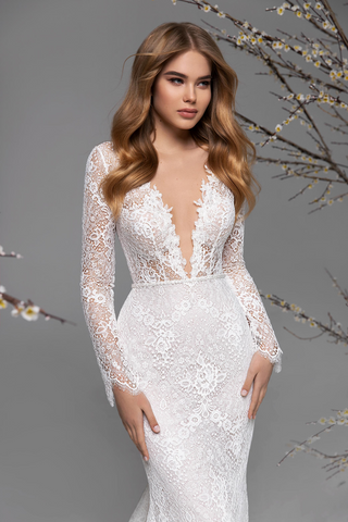 Deep V Neck Wedding Dress Longsleeve