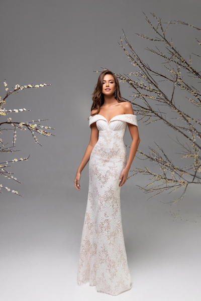 Off Shoulder Sheath Wedding Dress
