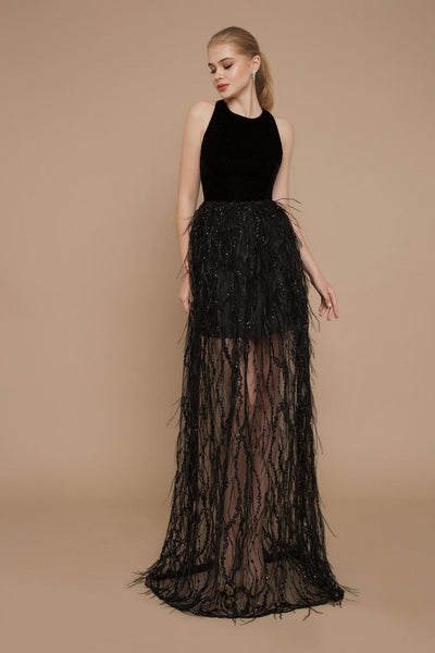 Black Crepe Evening Dress