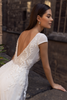 Cap Sleeve Sheer Overlay Wedding Dress