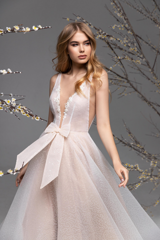 Light Pink V Neck Wedding Dress