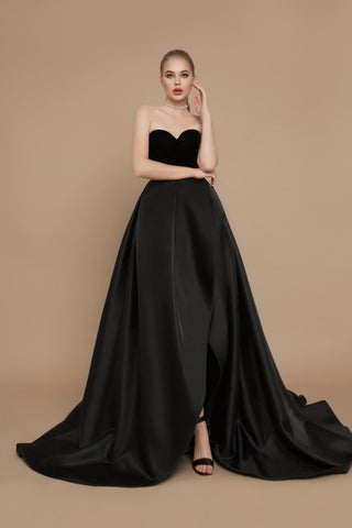 Black Duchess Satin Evening Dress