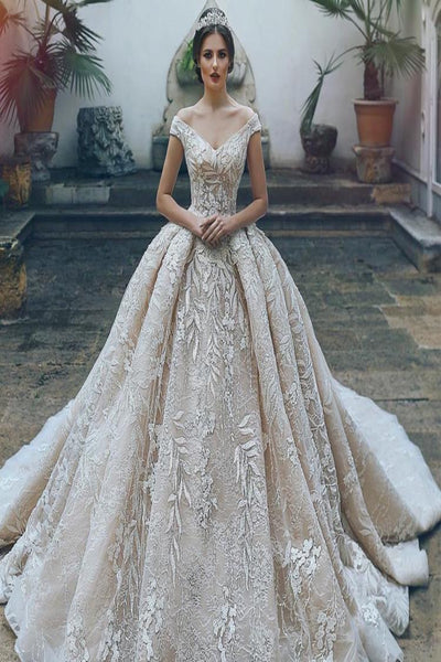 Off Shoulder Beaded Ball Gown