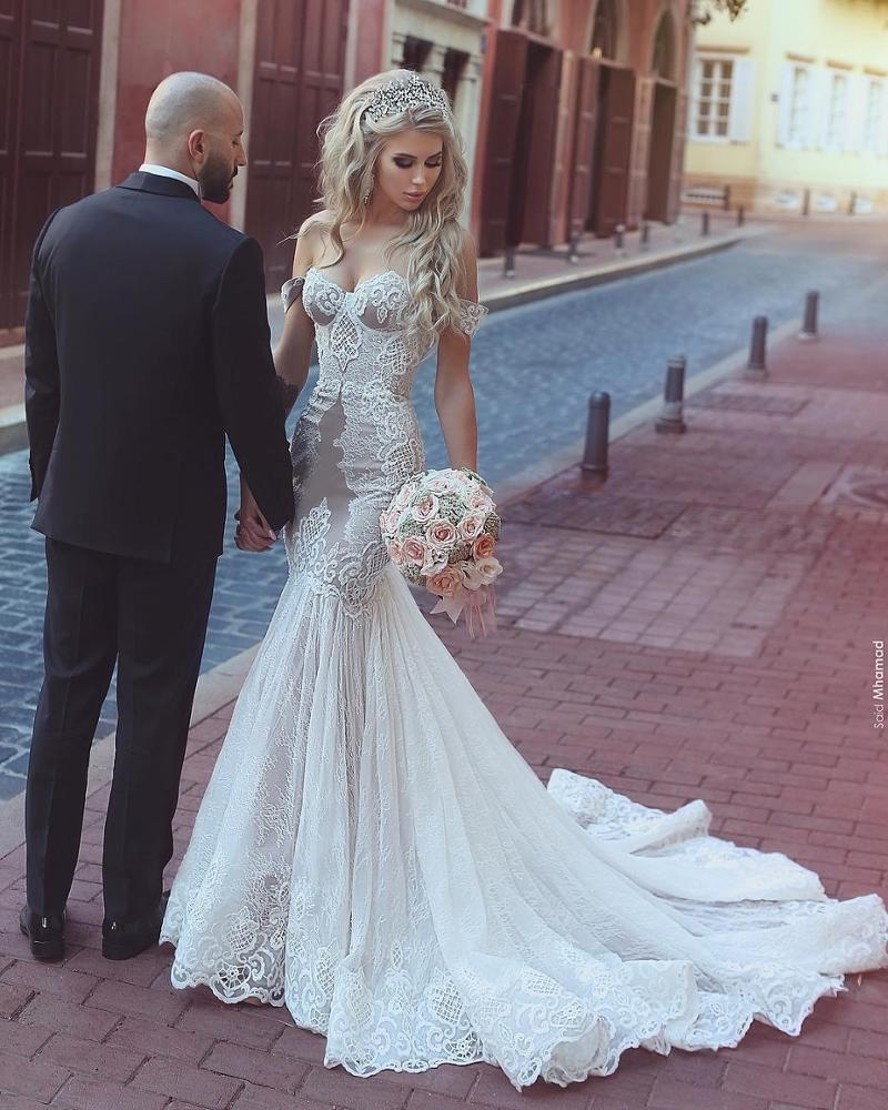 Lace Off Shoulder Mermaid Wedding Dress