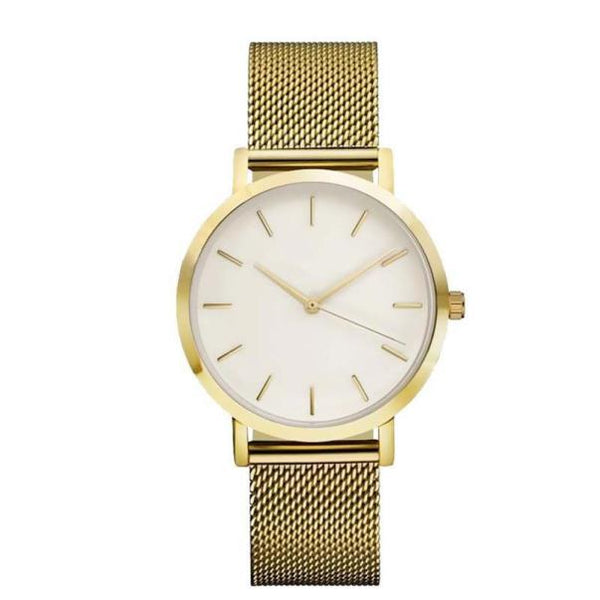 Crystal Stainless Steel Analog Quartz Wristwatch