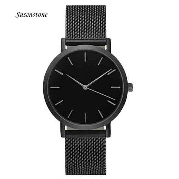 Men Women Fashion Stainless Steel Strap Analog Quartz Wrist Watch Luxury Simple Style Designed Bracelet Watches Women Clock 2018