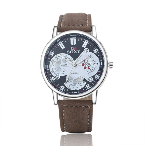 Fashion Sports Watch Men'S Leather Quartz Watch Casual Watch