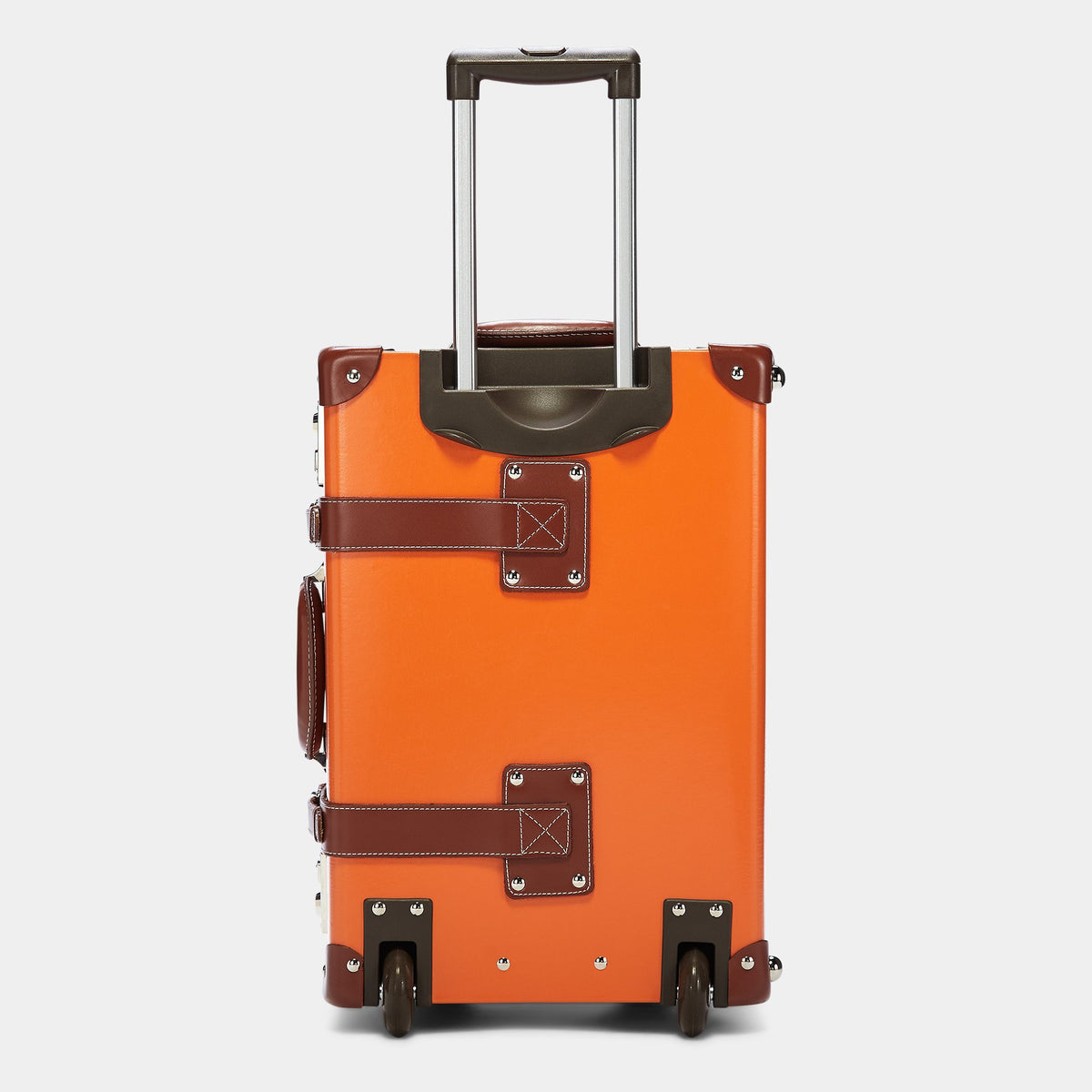 The Anthropologist Carryon in Orange - Vintage Style Leather Case - Exterior Back with Extendable Handle