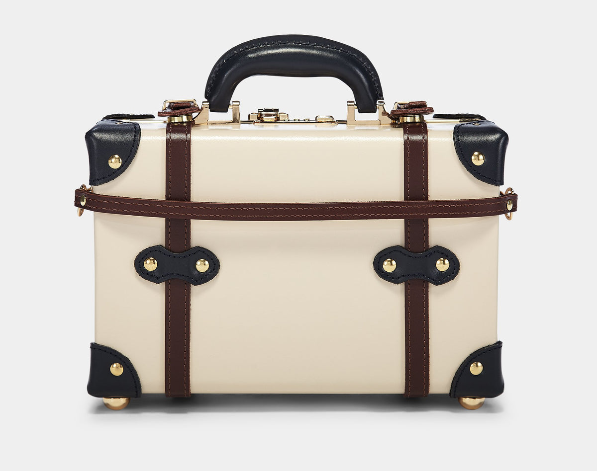The Architect Vanity in Cream -Vintage Style Leather Case - Exterior Back with Shoulder Strap