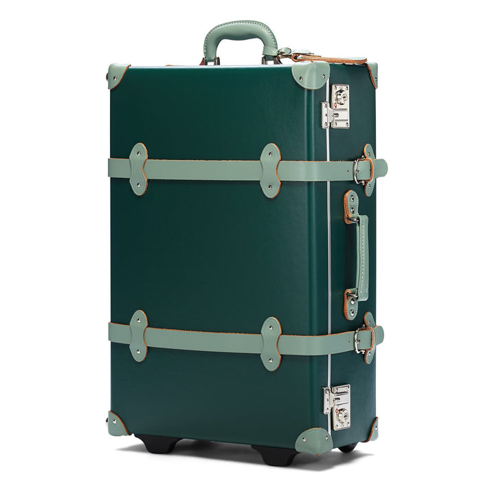 The Artiste Stowaway in Green - Old Fashioned Suitcase - Exterior Front