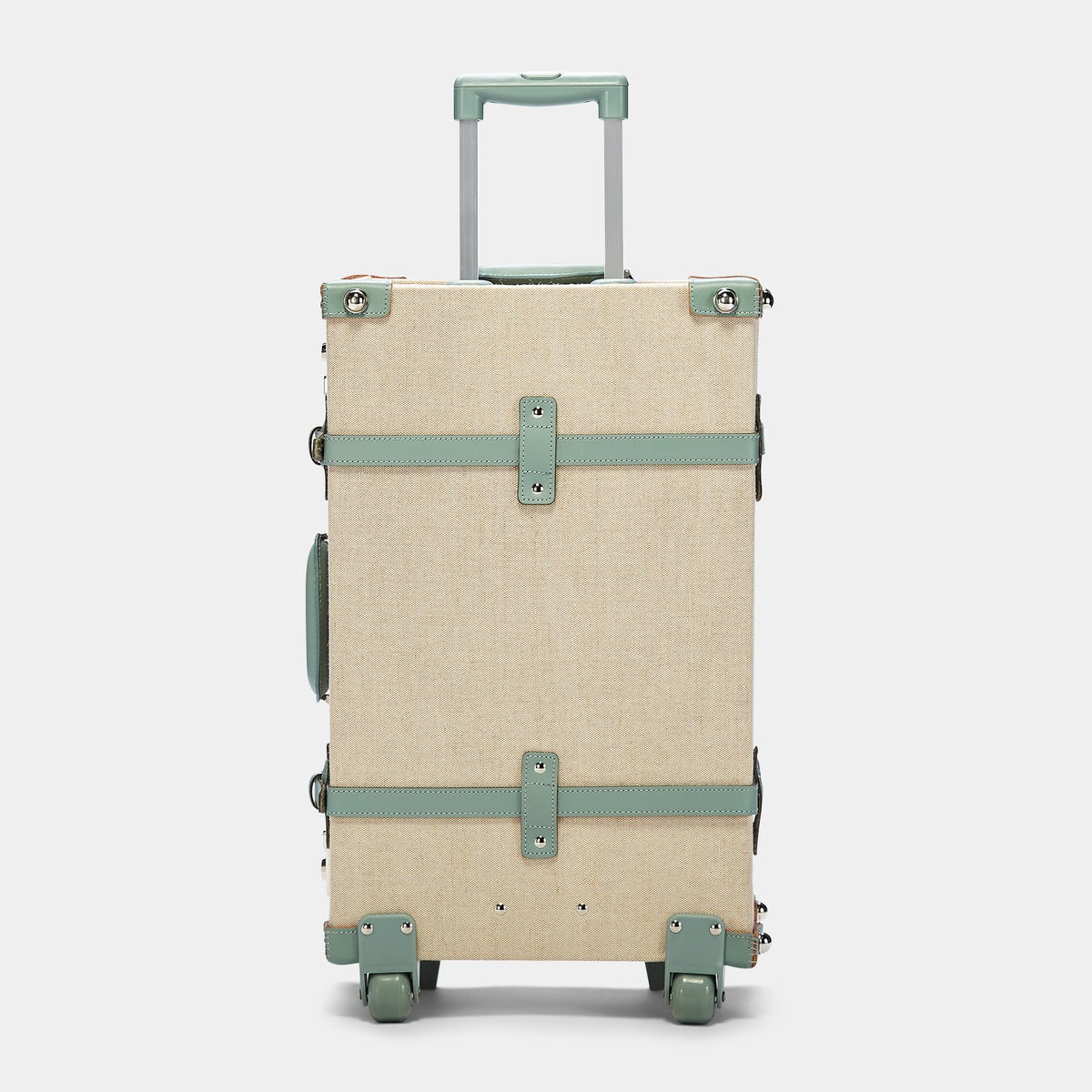 The Editor Stowaway in Seagreen - Hat Box Luggage - Exterior Back with Extendable Handles