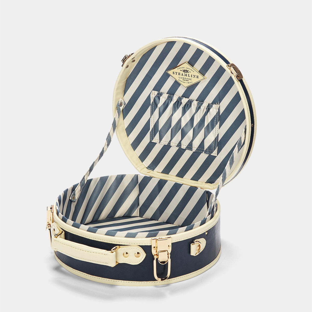 The Entrepreneur Hatbox Small in Navy - Vintage-Inspired Luggage - Interior Front