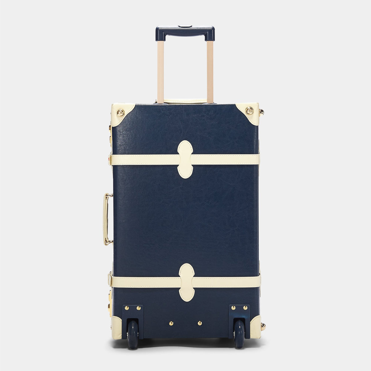 The Entrepreneur Stowaway in Navy - Vintage-Inspired Luggage - Exterior Back with Extendable Handle